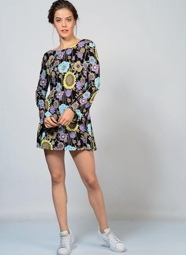 Motel Rocks Uzun Kollu Desenli Mini Elbise Renkli